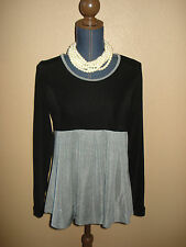 Citiknits Baby Doll Black Gray Pleated Slinky Tunic Top Size S NWT