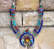 Tibetan Nepal Necklace Coral Turquoise Jewelry Ethnic Amber Bohemian Nepalese