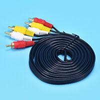3m Triple 3 RCA Phono Male Plug to Plug Audio Composite Video AV Cable TV Lead