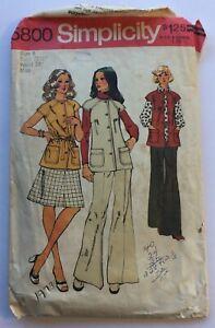 Vintage 1973 Simplicity sewing pattern 5800 women's vest skirt pants size 8, cut