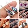 925 Silver Rainbow Topaz Earrings Ear Hook Dangle Drop Fashion Women Jewelry