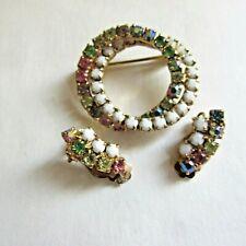 Vintage Milk Glass Cabochons Aurora Borealis Rhinestone Circle Pin Earrings Set