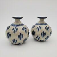 2 Vintage Studio Art Pottery Weed Pot Stoneware Bud Vases Handmade Glazed Wheel