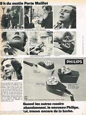 PUBLICITE ADVERTISING 105  1970  PHILIPS  les rasoirs éléctriques PORTE MAILLOT