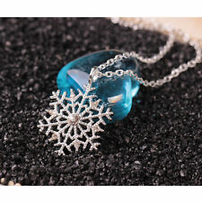 Xmas Vogue Silver Frozen Snowflake Crystal Pendant Chain Necklace Christmas Gift