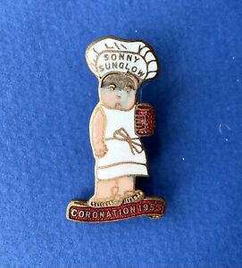 Vintage Sunny Sunglow Coronation 1953 Royal Enamel Pin badge By H.W Miller