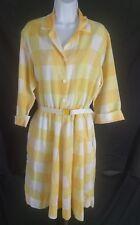 Vtg Blair~M/L~Plaid ShirtWaist Fit Flare L/S Dress Yellow Belted Rockabilly