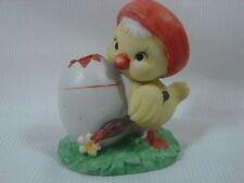 Lefton Taiwan Painter Chick in Tam-0-Shanter w Egg Toothpick Holder Ceramic