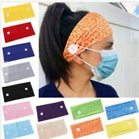 Headband Hairband with Buttons for Face Mask Nurses Turban Women Girls Headwrap