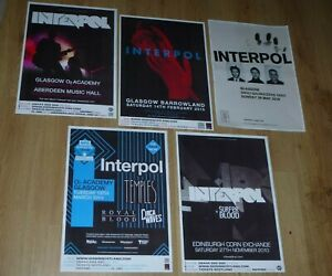 Interpol - Collection of 5 Scottish tour show concert gig posters memorabilia