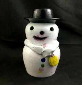 "Neolia Cole Pottery NC Folk Art 6"" SNOWMAN Figurine - Signed - 2 of 10"