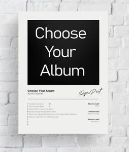 CHOOSE YOUR ALBUM COVER -  Personalised Music Album Poster Polaroid Art Giclée