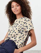 Joules Womens Sofi Print Pocket T-Shirt - Cream Gold Floral Stripe