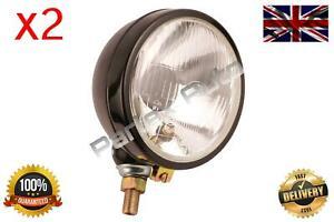2X Left/Right Headlamp Headlight Black Round Fits David Brown 770, 780, 850, 880