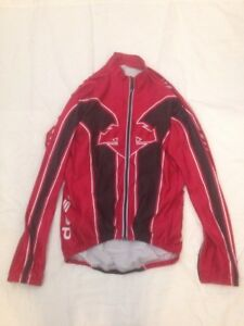 Descente Mens Cycling Long Sleeve Full Zipper Jersey Red Large Sc7