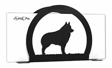Swen Products Schipperke Dog Black Metal Letter Napkin Card Holder