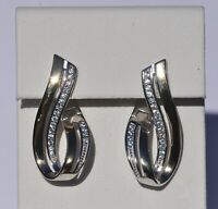 Echt 925 Sterling Silber Ohrringe Creolen Zirkonia vergoldet Hochzeit Nr 218