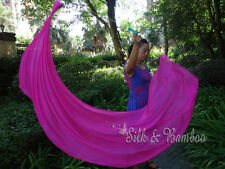 2pcs 2.3m*0.9m pink dance silk veil poi, stainless steel chain,edges rolled