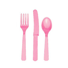 24 Baby Pretty Pink Plastic Assorted Cutlery Knifes Forks Spoons Wedding Party
