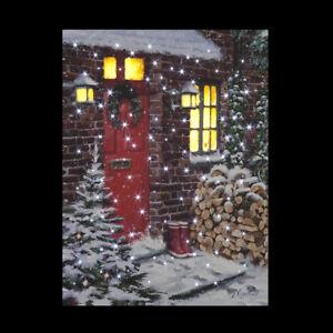 Twinkling Christmas Winter Snow Light up Fibre Optic LED Canvas Picture 40x30cm