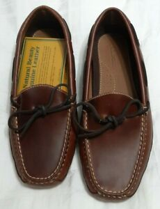 Men LL Bean Brown Double Sole Leather House Shoes Slippers Moccasins 8 D 197690