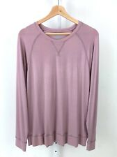 TOMMY JOHN Womens Lounge Long Sleeve Crew Sweatshirt Top Raglan Dusty Pink XL