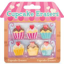 6 Süße Cupcake Radiergummis Neuheit Schreibwaren Partybeutel Strumpf Füller
