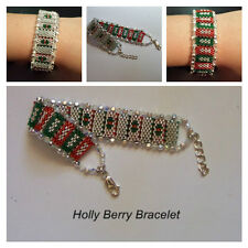 PATTERN ONLY Beaded Reversible Peyote Stitch Holiday Bracelet, Advanced Level