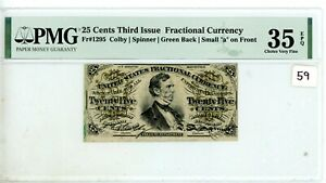 25 Cent Third Issue Fractional Currency - FR#1295 - PMG 35 EPQ # 59