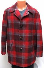 vtg Pendleton RED GRAY CHERRY PLAID Wool Coat XL 50a/60s Lined Wood Buttons USA