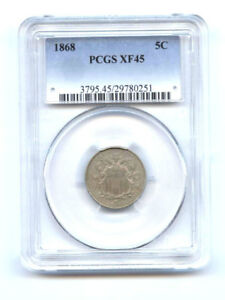 1868 5C PCGS- XF 45-SHIELD NICKEL