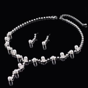 COLLIER Brautschmuck Schmuckset Kette Hochzeit Perlenkette Perlen Strass Braut