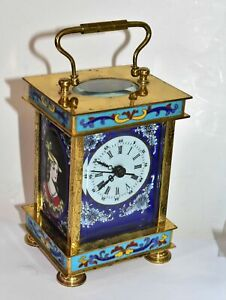 Vintage French Style Chinese Cloisonne Carriage Clock for Mantle or Desk