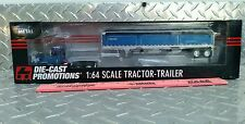 DCP 1/64 BLUE INTERNATIONAL 9100i DAYCAB & WILSON BLUE BLACK TARP GRAIN TRAILER!