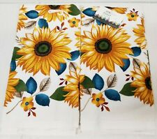 """2 SAME PRINTED TERRY KITCHEN COTTON TOWELS,16"""" x 26"""", SUNFLOWERS & LEAVES by AM"""