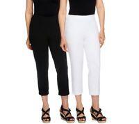 Women with Control Set of 2 Straight Leg Knit Crop Pants Black/White PL Size QVC