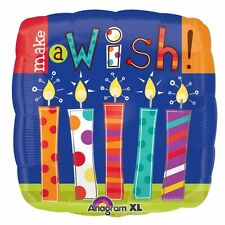 """Make A Wish Candles Foil Birthday Balloons 5 PC - 18""""/45cm"""