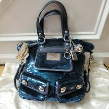 Excellent Coach Poppy Sequin Satchel Tote Bag Spotlight Blue Limited Edition
