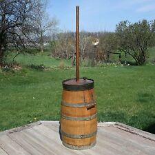 Antique Oak Wood Butter Churn Staved Banded Churner Dash Lid Wooden Barrel Vtg