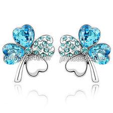 4 Leaf Clover Flower Aqua Blue Earrings use Swarovski Crystal SE519