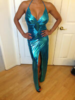 Connie's Sexy Metallic Teal Halter Maxi with leg slit & Low back Size Small
