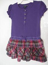 American Living by Ralph Lauren Dress Size 4 Purple Pink Plaid Cotton #531