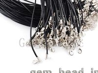 """Bulk Lots Black Leather 2mm Cord Lobster Clasp Fit Pendant Necklace Chains 16.5"""""""