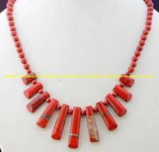 "NATURAL RED RIVER JASPER Arrowhead Pendant Bead Necklace Gemstone Bead 18""L"