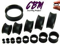 Pair 8g - 40mm Black Silicone Plugs Tunnels Thin EarSkin Flesh Gauges