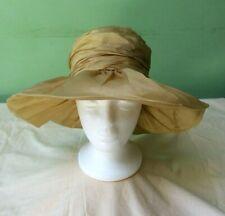 50s Vintage Hat. Gold Draped Fabric. Wide brim. Goodwood. Wedding