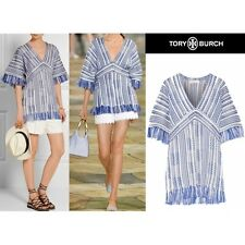 Tory Burch Gwen Tunic Swim Cover Up M Cruise Beach Blue white stripes 8 10
