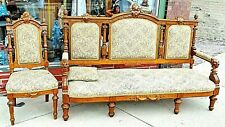 Victorian Antique Walnut ornate lion cat face motif Sofa Settee couch & Chair