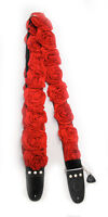 "CAPTURING COUTURE GUITAR STRAP RED ORGANZA roses GTR20-RDRS  2""W 45""-60""L"
