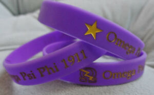 4 Pack Omega Psi Phi Wristband: Armband: Color Filled: Purple and Gold!
